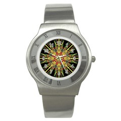 Kaleidoscope Flower Mandala Art Black Yellow Orange Red Stainless Steel Watch