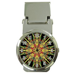 Kaleidoscope Flower Mandala Art Black Yellow Orange Red Money Clip Watches
