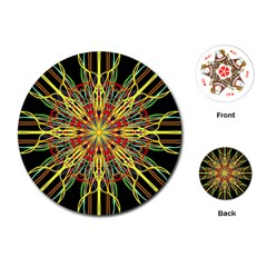 Kaleidoscope Flower Mandala Art Black Yellow Orange Red Playing Cards (round)