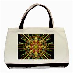 Kaleidoscope Flower Mandala Art Black Yellow Orange Red Basic Tote Bag