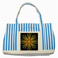 Kaleidoscope Flower Mandala Art Black Yellow Orange Red Striped Blue Tote Bag