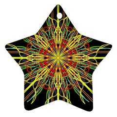 Kaleidoscope Flower Mandala Art Black Yellow Orange Red Star Ornament (two Sides)