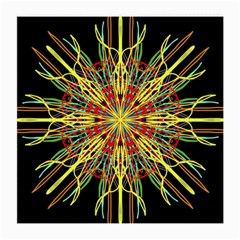 Kaleidoscope Flower Mandala Art Black Yellow Orange Red Medium Glasses Cloth (2 Side)