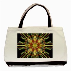 Kaleidoscope Flower Mandala Art Black Yellow Orange Red Basic Tote Bag (two Sides)