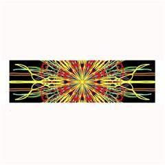 Kaleidoscope Flower Mandala Art Black Yellow Orange Red Large Bar Mats