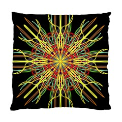 Kaleidoscope Flower Mandala Art Black Yellow Orange Red Standard Cushion Case (two Sides)