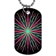 Pink Turquoise Black Star Kaleidoscope Flower Mandala Art Dog Tag (One Side)