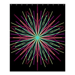 Pink Turquoise Black Star Kaleidoscope Flower Mandala Art Shower Curtain 60  X 72  (medium)