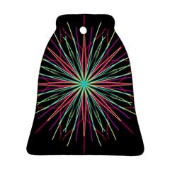 Pink Turquoise Black Star Kaleidoscope Flower Mandala Art Ornament (Bell)