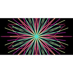 Pink Turquoise Black Star Kaleidoscope Flower Mandala Art You Are Invited 3d Greeting Card (8x4)