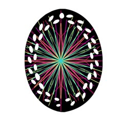 Pink Turquoise Black Star Kaleidoscope Flower Mandala Art Oval Filigree Ornament (2 Side)