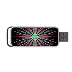 Pink Turquoise Black Star Kaleidoscope Flower Mandala Art Portable Usb Flash (one Side)