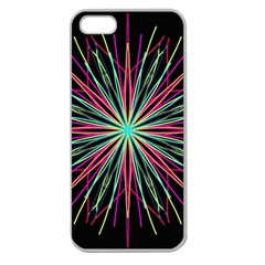 Pink Turquoise Black Star Kaleidoscope Flower Mandala Art Apple Seamless Iphone 5 Case (clear)