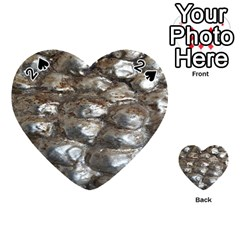 Festive Silver Metallic Abstract Art Playing Cards 54 (Heart)
