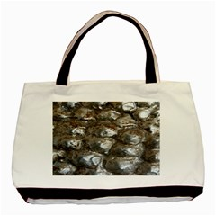 Festive Silver Metallic Abstract Art Basic Tote Bag (Two Sides)