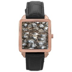 Festive Silver Metallic Abstract Art Rose Gold Leather Watch