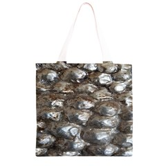 Festive Silver Metallic Abstract Art Grocery Light Tote Bag