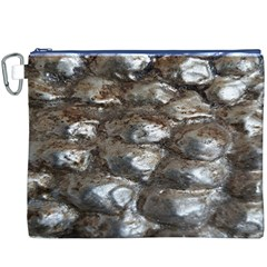 Festive Silver Metallic Abstract Art Canvas Cosmetic Bag (XXXL)