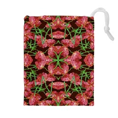Floral Collage Pattern Drawstring Pouches (Extra Large)