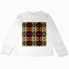 Contemplative Floral And Pearls  Kids Long Sleeve T Shirts