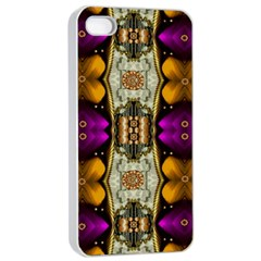 Contemplative Floral And Pearls  Apple Iphone 4/4s Seamless Case (white)
