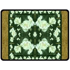 Roses And Flowers In Gold Double Sided Fleece Blanket (large)