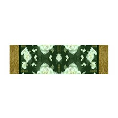 Roses And Flowers In Gold Satin Scarf (oblong)