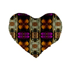 Contemplative Floral And Pearls  Standard 16  Premium Heart Shape Cushions