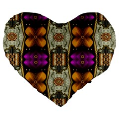 Contemplative Floral And Pearls  Large 19  Premium Flano Heart Shape Cushions