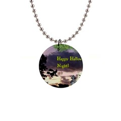 Happy Halloween Night Witch Flying Button Necklaces