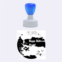 Happy Halloween Night Witch Flying Rubber Round Stamps (medium)