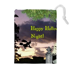 Happy Halloween Night Witch Flying Drawstring Pouches (extra Large)