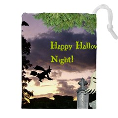 Happy Halloween Night Witch Flying Drawstring Pouches (XXL)