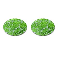 Festive Chic Green Glitter Shiny Glamour Sparkles Cufflinks (Oval)
