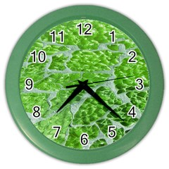 Festive Chic Green Glitter Shiny Glamour Sparkles Color Wall Clocks