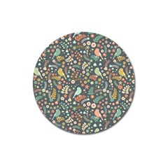 Vintage Flowers And Birds Pattern Magnet 3  (Round)