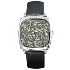 Vintage Flowers And Birds Pattern Square Metal Watch