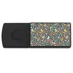 Vintage Flowers And Birds Pattern USB Flash Drive Rectangular (4 GB)
