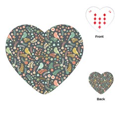 Vintage Flowers And Birds Pattern Playing Cards (Heart)