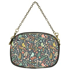 Vintage Flowers And Birds Pattern Chain Purses (One Side)