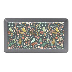 Vintage Flowers And Birds Pattern Memory Card Reader (mini)