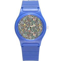 Vintage Flowers And Birds Pattern Round Plastic Sport Watch (S)