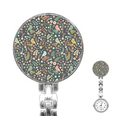 Vintage Flowers And Birds Pattern Stainless Steel Nurses Watch