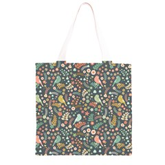 Vintage Flowers And Birds Pattern Grocery Light Tote Bag