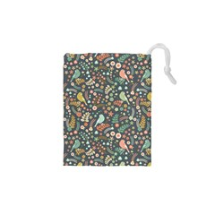Vintage Flowers And Birds Pattern Drawstring Pouches (XS)