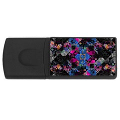 Stylized Geometric Floral Ornate Usb Flash Drive Rectangular (4 Gb)
