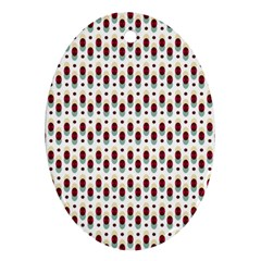 Geometric Retro Patterns Oval Ornament (two Sides)