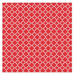 Poppy Red Quatrefoil Pattern Large Satin Scarf (square)