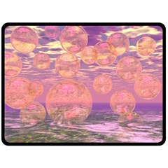 Glorious Skies, Abstract Pink And Yellow Dream Double Sided Fleece Blanket (large)