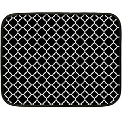 Black White Quatrefoil Classic Pattern Fleece Blanket (mini)